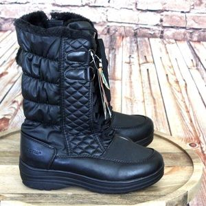 Sporto | Winter Waterproof Black Faux Fur Boots
